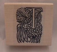 Monogram Letter T Decorative Pine-cones Rubber Stamp Wm P41