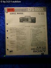 Sony Service Manual CFS 1000L Cassette Corder (#3512)