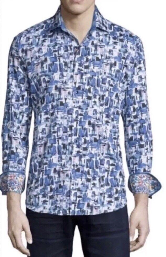 Robert Graham Salton Sea Printed Long-Sleeve Sport Shirt, Cobalt. Size XL.