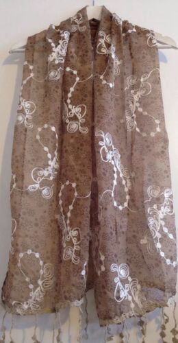 Beige Embroidery  Scarf