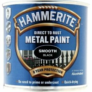NEW-HAMMERITE-DIRECT-TO-RUST-METAL-PAINT-SMOOTH-BLACK-250ML-5084863