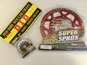 Honda-CR-125-CRF-250-Front-13-Rear-49-Sprocket-Red-Alloy-DID-Chain-NEW