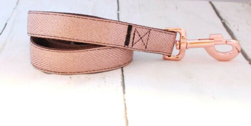 Puppy Collar LIMITED EDITION Rose Gold Buckle Rose Gold Herringbone Dog