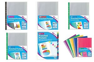A4-Clear-Plastic-Poly-Punched-Pockets-Filing-Folders-Wallets-Sleeves