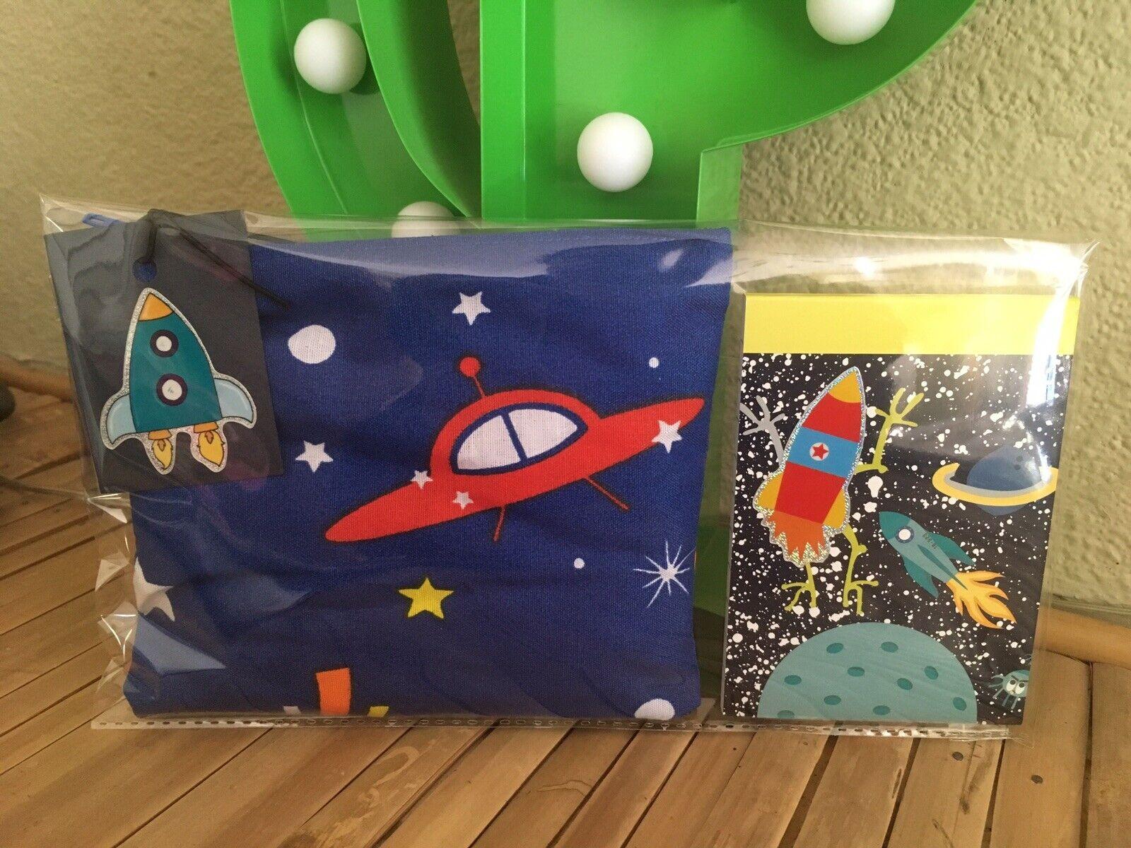 🚀Retro 50's Atomic Sputnik Rocket ship Cosmetic Bag & Notebook 2 Piece Gift Set