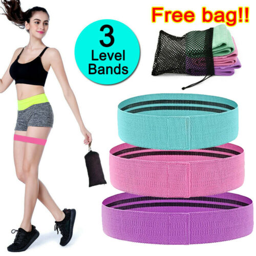 Fabric Resistance Bands 3pcs Set Non-Slip Hip Circle Booty Workout Exercise Loop