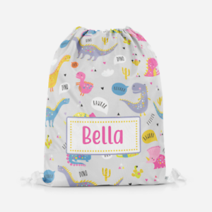 Personalised-Dinosaur-Raw-Girls-Kids-Drawstring-Bag-PE-Swimming-School-Bag
