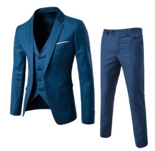 3 Pcs Mens One Button Blazer Suit Lapel Collar Coat Slim Jacket Vest And Pants 9