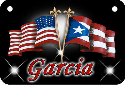 USA Puerto Rican Flag Bicycle License Plate Personalize Ladies Girls Boys Bikes