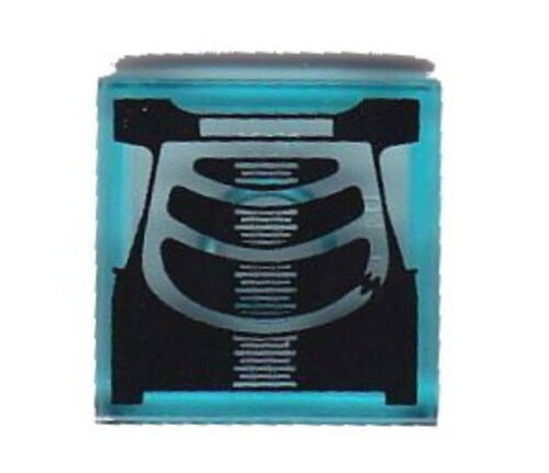 DECORATED TILE Lego Chest X-Ray 2x2 Trans Blue Tile NEW Doctor//Nurse 8827