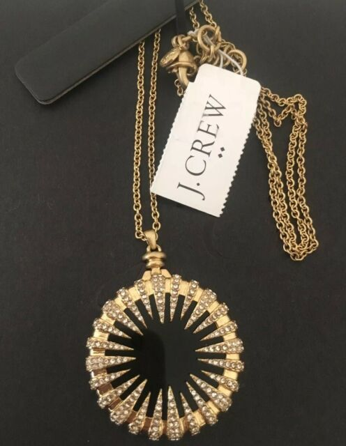 NWT J.Crew Factory Beautiful Crystal Medallion Gold pendant Necklace 25