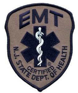 NJ EMT Emergency Medical Technician Subdued Patch Navy on Grey #5318
