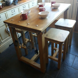 Enjoyable Details About Rustic Kitchen Island Breakfast Bar Work Bench Butchers Block 4 Or 6 Stools Squirreltailoven Fun Painted Chair Ideas Images Squirreltailovenorg