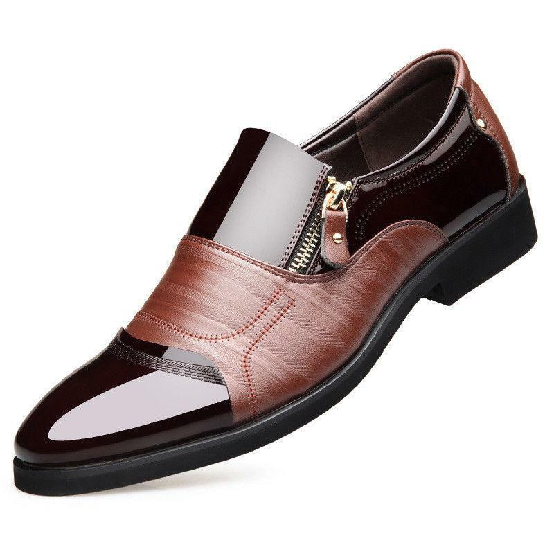 Fashion Mens Shiny Side Zipper Formal Dress Pointed Toe Business wedding shoes