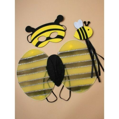 Childrens Bumble Bee Fancy Dress Wings Wand and Mask Set Bee Costume