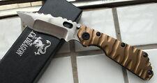 New Custom Made Full Gold Titanium Strider SMF SNG D2 Style Folding Knife DF50