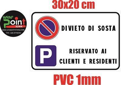 CARTELLO PARCHEGGIO RISERVATO RESIDENTI ALLUMINIO TARGA 20X30 CM