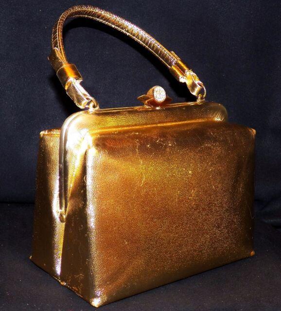 Vintage 1950s After Five Lowy Mund Spotlight Gold Frame Box Handbag Made in USA