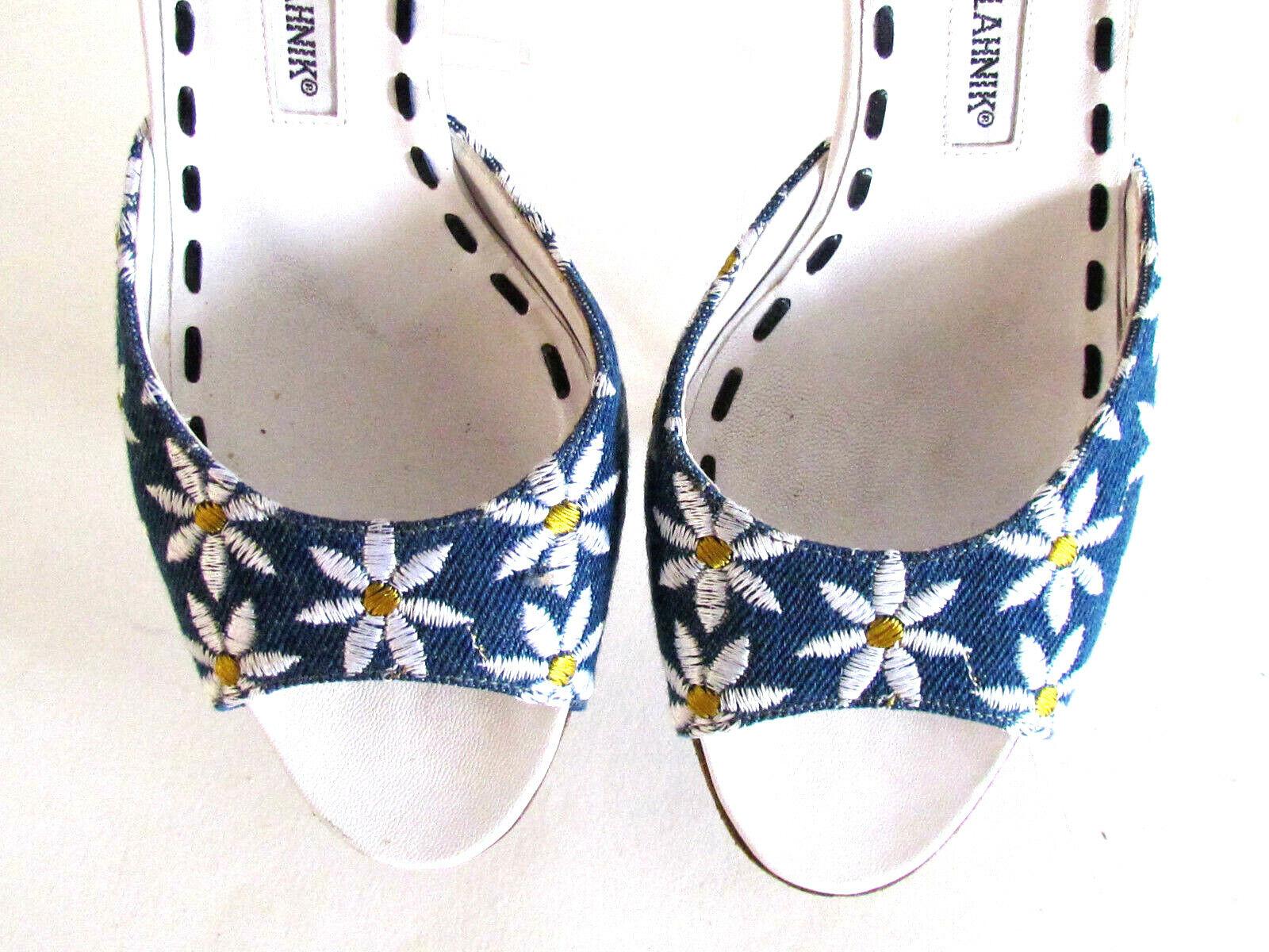 Donna  scarpe Heels Designer Manolo Blahnik blu blu blu bianca Floral Print Sandals 8.5 218a2a