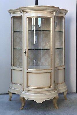 Vetrina/cristalliera In Legno Colore Avorio E F.oroxsoggiorno Sala Salotto 0091a