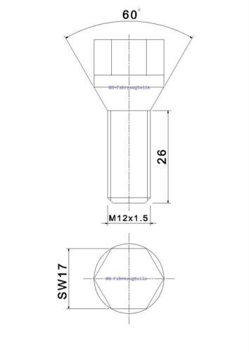 20 BULLONI RUOTA m12x1,5x26mm sw17 cono federale bulloni della ruota per cerchi in Lega Acciaio Cerchioni