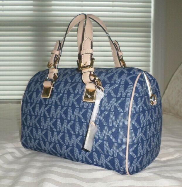 NWT Michael Kors Medium GRAYSON Satchel Bag MK Sig Logo Navy Blue PVC 38S6CGYS6B