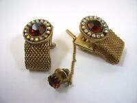 Vintage Men's Jewelry Set: Wrap Cufflinks Brown Jewel w/ Tie Tack Pin