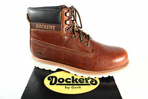 Dockers-Boots-Lace-up-Boots-Boots-Winter-Boots-Braun-Leather-331132-New