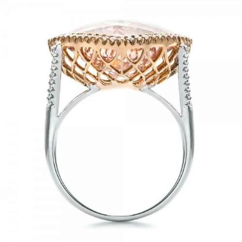Luxe Argent 925 anneaux de mariage Bague Fiançailles Bague Citrine Taille 6-10