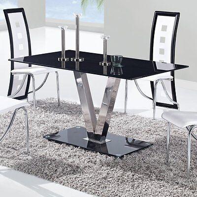 Rectangular Glass Top Dining Kitchen Table Modern Contemporary Elegant  Silver 706695532412 | eBay