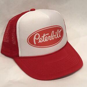 Peterbilt-Trucker-Hat-Vintage-Farmer-Semi-Truck-Mesh-Style-Snapback-Cap-Red