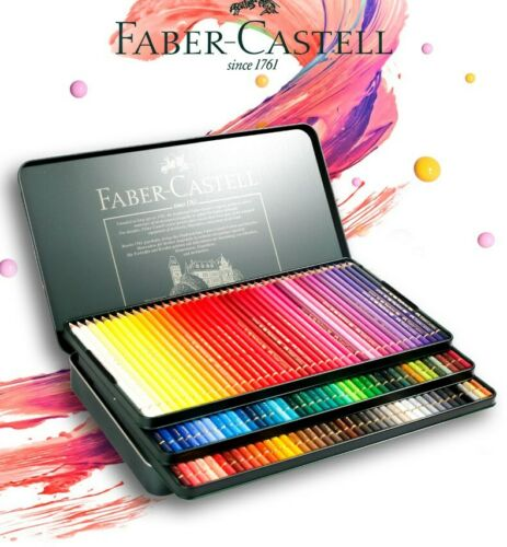 120 Colours Faber Castell Polychromos Pencils Tin Set Drawing Colouring Coloured