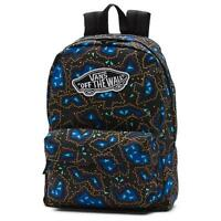 Vans Girls Realm Classic Patch Black Nautical Blue Backpack Bookbag
