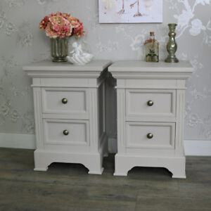 Furniture Pair Of Grey Taupe Bedside Table Chests Shabby French Chic