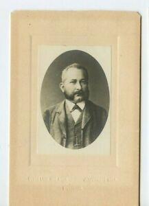Vintage Cabinet Card German Man W Mustache & Mutton Chops Stuttgart