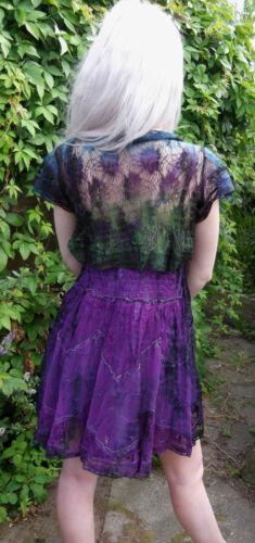 Jordash Gossamer Lace Shrug Bolero Black /& Purple Multi Tie-Dye Boho S M L XL