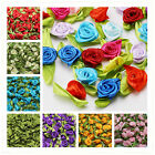 50/100PCS Satin Ribbon Rose Flower DIY Craft Wedding Appliques 12mm DIY