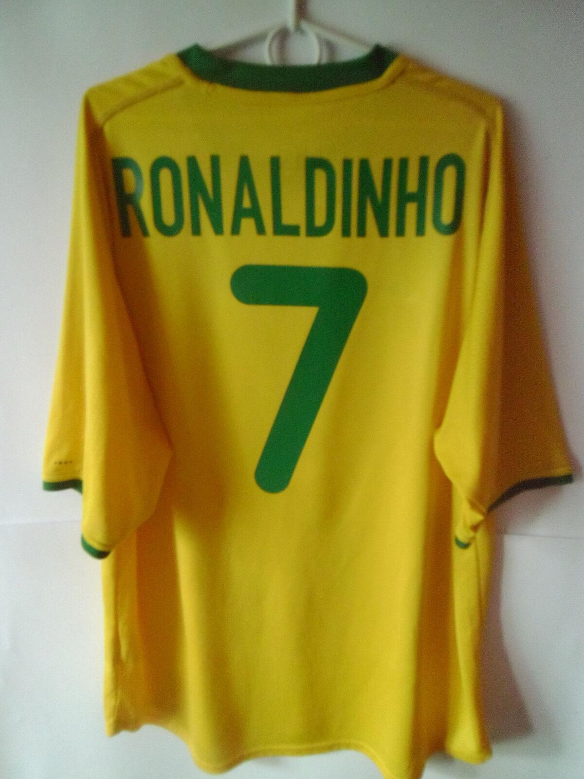 RONALDINHO     2000-02 Brazil Home Shirt Jersey Trikot XL