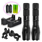 2 x Tactical Flashlight Ultrafire T6 High Powered 5 Modes Zoom Aluminum +Battery