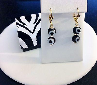 Evil Eye Drop Earrings-18 KT Brazilian Gold Fill-Dangling-Lever Back-Black-Power