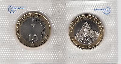 SWITZERLAND BIMETALLIC 10 FRANCS COIN 2005 JUNGFRAU UNC