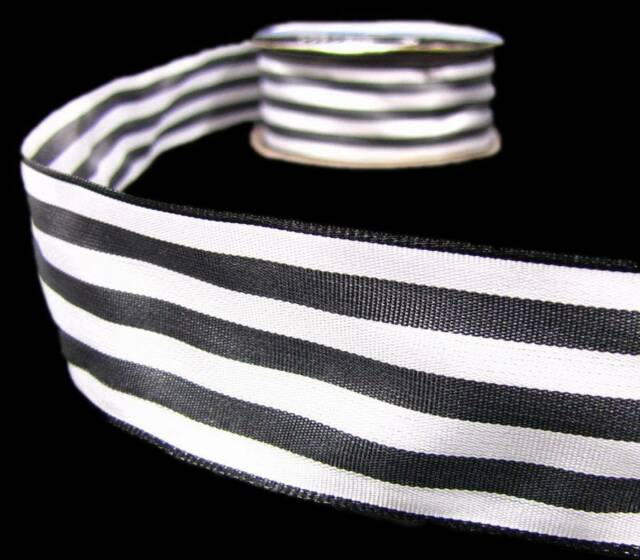 """2 Yds Black and White Striped Wired Ribbon 1 1/2""""W - special"""