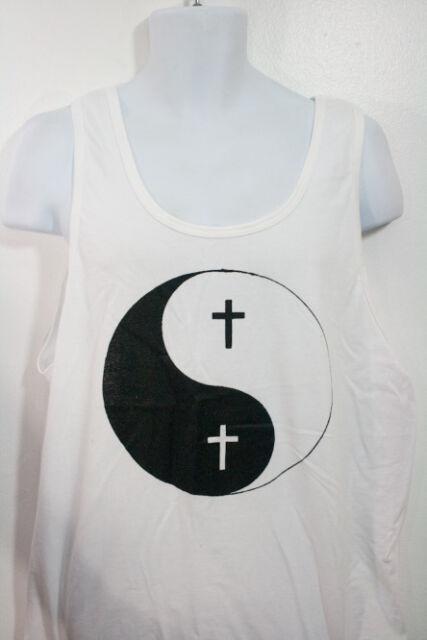 Men Fashion Hipster Trendy Urban Ying Yang Cross Design Tank In Control Clothing