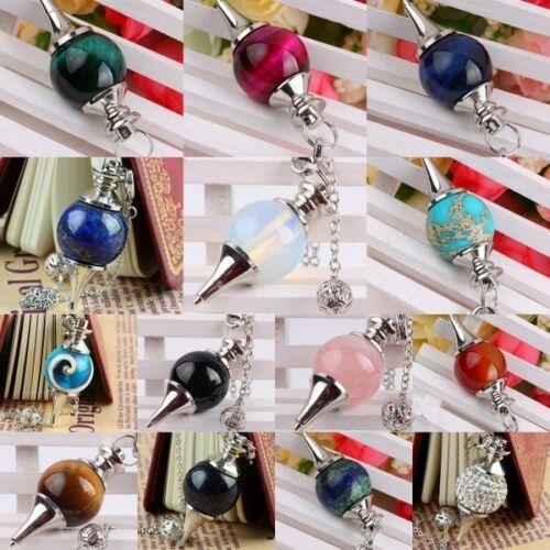 Gemstone Ball Point Divination Dowsing Healing Reiki Chakra Pendulum With Chain