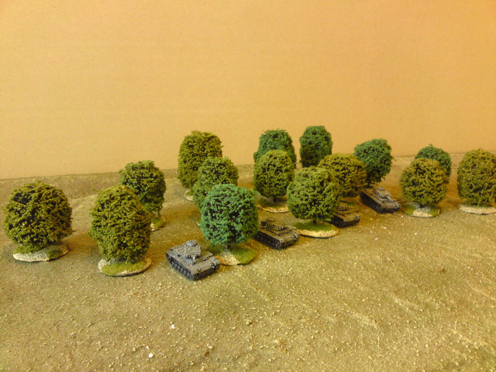 24 x 15mm sculptured trees (deciduous style) suitable for ww2, fow