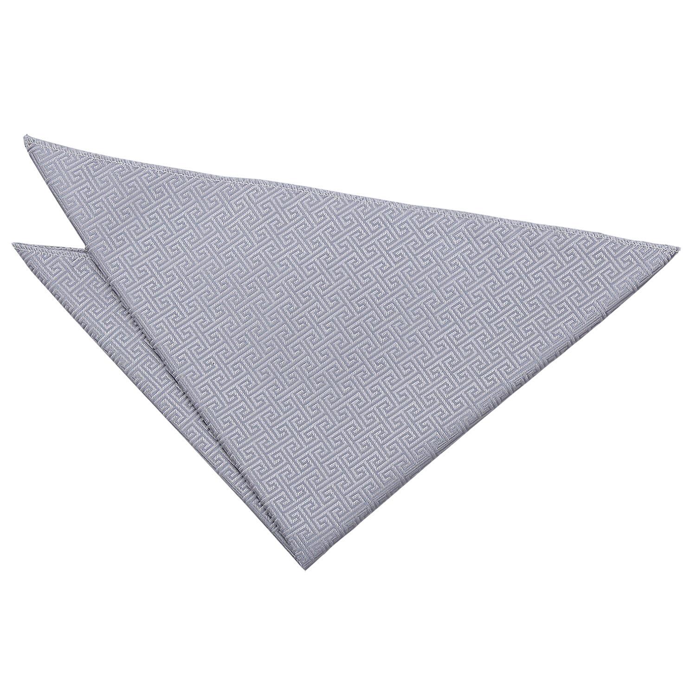 Silver Mens Pocket Square Handkerchief Hanky Woven Greek Key by DQT