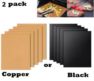 2pc Copper Grill Mat Bbq Baking Non Stick Gold Black Pad