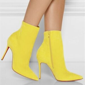 Fashion-Womens-Pointy-Toe-Stiletto-Yellow-Ankle-Boots-High-Heels-Shoes-Plus-Size