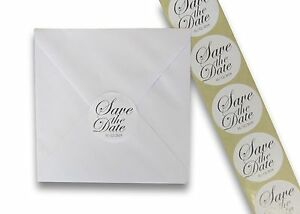 72 personalised round save the date wedding stickers labels