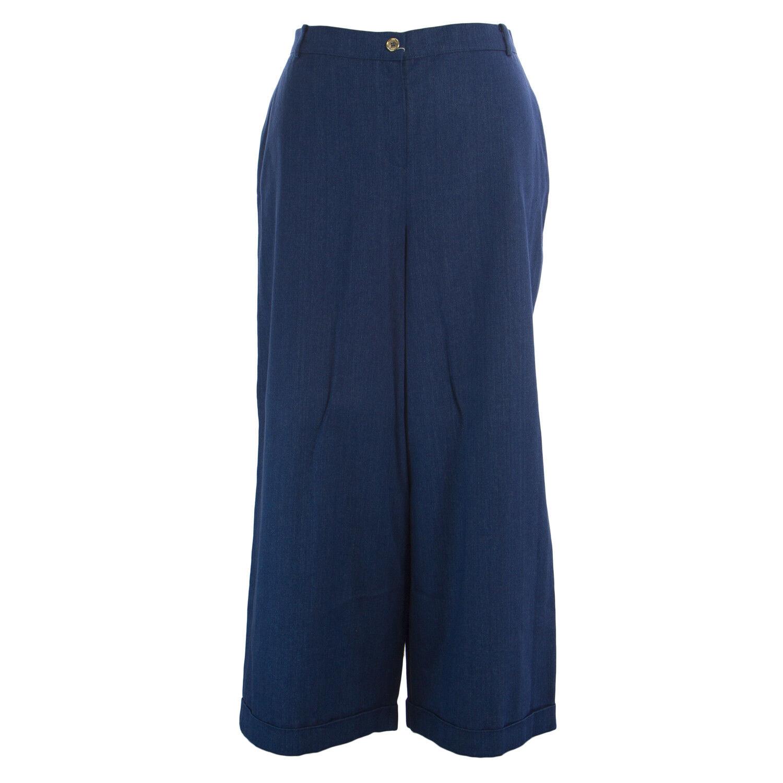 MARINA RINALDI Women's Navy Rodi Wide Leg Flax Pants  410 NWT